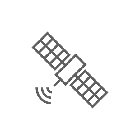 Satellite line icon for web, mobile and infographics. Vector dark grey icon isolated on white background.