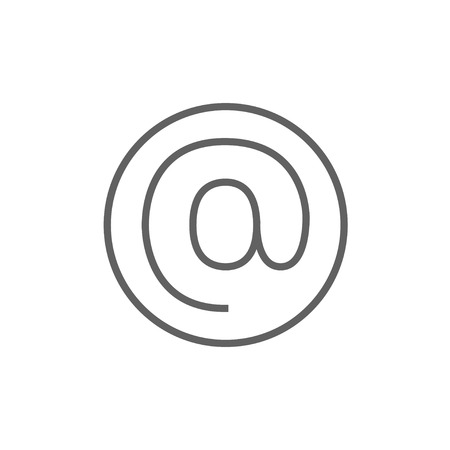 mail icon: At sign line icon for web, mobile and infographics. Vector dark grey icon isolated on white background.