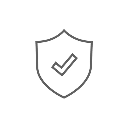safeness: Shield with check mark thick line icon with pointed corners and edges for web, mobile and infographics. Vector isolated icon.