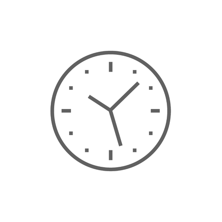 Wall clock thick line icon with pointed corners and edges for web, mobile and infographics. Vector isolated icon.