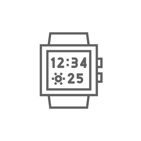 Smartwatch thick line icon with pointed corners and edges for web, mobile and infographics. Vector isolated icon. 矢量图像