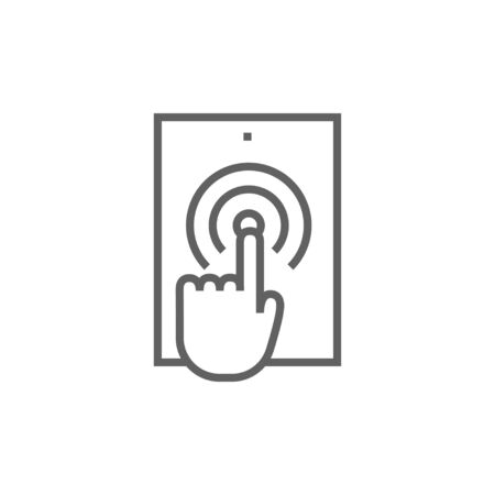 smartphone icon: Finger touching digital tablet thick line icon with pointed corners and edges for web, mobile and infographics. Vector isolated icon.
