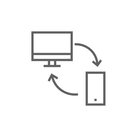 synchronization: Synchronization computer with mobile device thick line icon with pointed corners and edges for web, mobile and infographics. Vector isolated icon. Illustration
