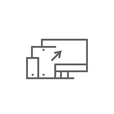 Responsive web design thick line icon with pointed corners and edges for web, mobile and infographics. Vector isolated icon.