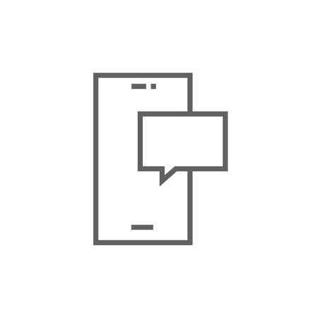 touch screen phone: Touch screen phone with message thick line icon with pointed corners and edges for web, mobile and infographics. Vector isolated icon.