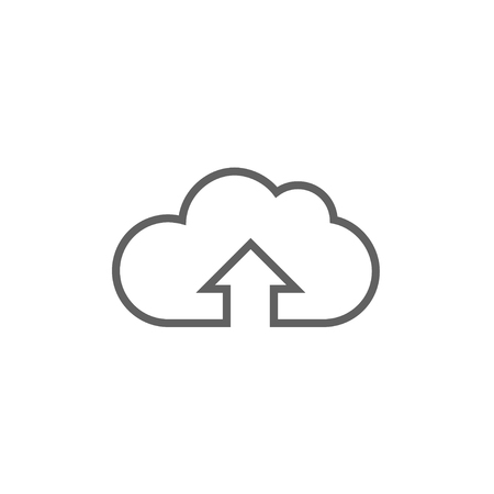 Cloud with arrow up thick line icon with pointed corners and edges for web, mobile and infographics. Vector isolated icon. Illustration