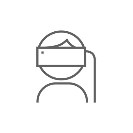Man wearing virtual reality headset thick line icon with pointed corners and edges for web, mobile and infographics. Vector isolated icon. Ilustração