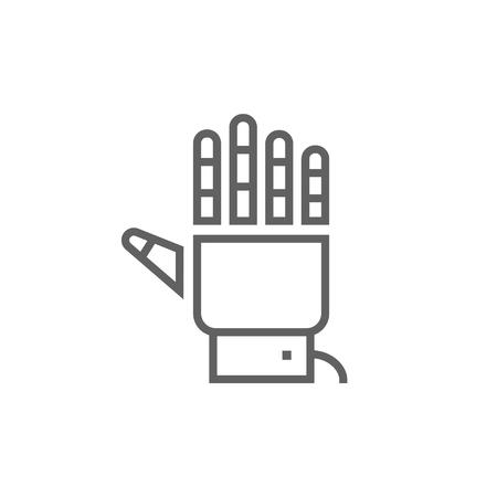 Robot main icône de ligne épaisse avec des coins et des bords pointus pour le web, mobile et infographie. Icône isolé de vecteur.