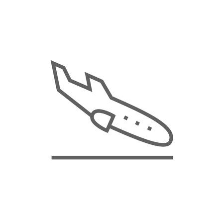 Landing aircraft thick line icon with pointed corners and edges for web, mobile and infographics. Vector isolated icon.