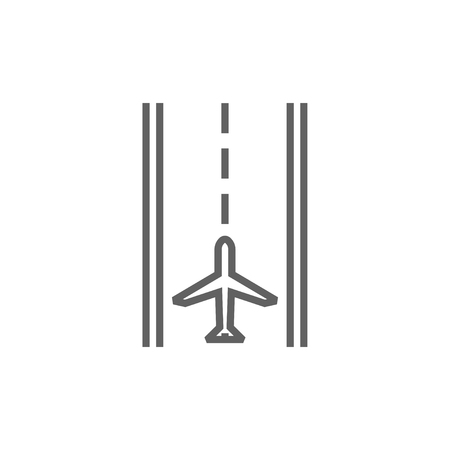 Airport runway thick line icon with pointed corners and edges for web, mobile and infographics. Vector isolated icon.