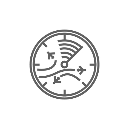 Radar screen with planes line icon for web, mobile and infographics. Vector dark grey icon isolated on white background. Illustration