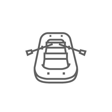 inflatable boat: Inflatable boat thick line icon with pointed corners and edges for web, mobile and infographics. Vector isolated icon.