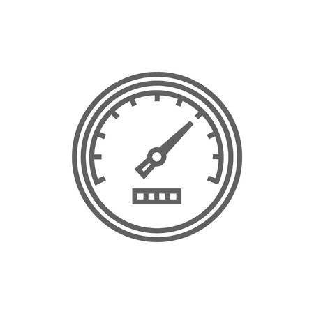 dial: Speedometer line icon for web, mobile and infographics. Vector dark grey icon isolated on white background.