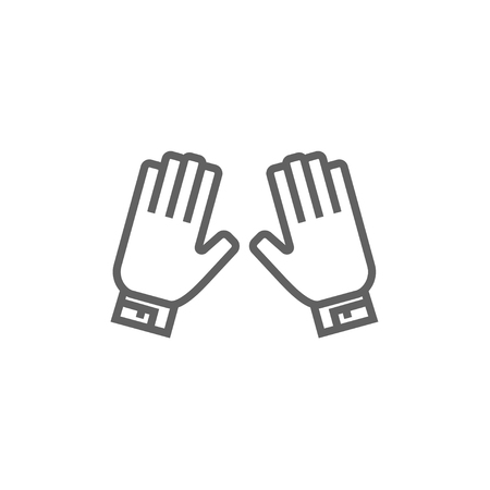 Motorcycle gloves line icon for web, mobile and infographics. Vector dark grey icon isolated on white background.