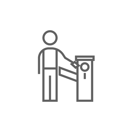 occlusion: Man at car barrier thick line icon with pointed corners and edges for web, mobile and infographics. Vector isolated icon.