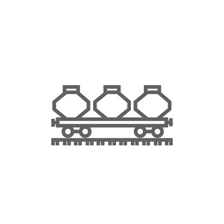 hand rails: Cargo wagon thick line icon with pointed corners and edges for web, mobile and infographics. Vector isolated icon.
