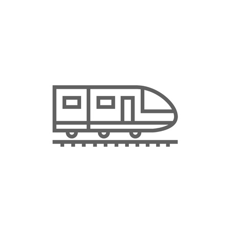 Modern high speed train thick line icon with pointed corners and edges for web, mobile and infographics. Vector isolated icon.