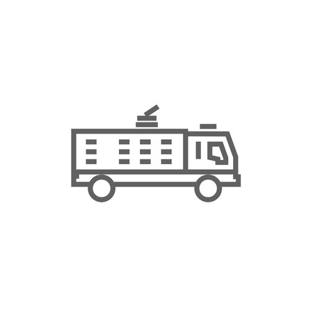 camion: Fire truck thick line icon with pointed corners and edges for web, mobile and infographics. Vector isolated icon.