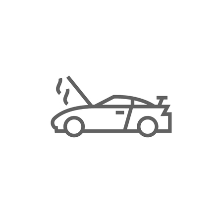 broken down: Broken car with open hood thick line icon with pointed corners and edges for web, mobile and infographics. Vector isolated icon.
