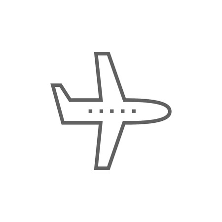 Flying airplane thick line icon with pointed corners and edges for web, mobile and infographics. Vector isolated icon. Vettoriali