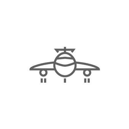 undercarriage: Airplane thick line icon with pointed corners and edges for web, mobile and infographics. Vector isolated icon. Illustration