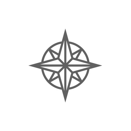 compass rose: Compass wind rose line icon for web, mobile and infographics. Vector dark grey icon isolated on white background. Illustration