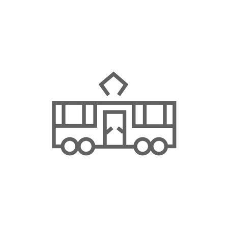 hand rails: Tram thick line icon with pointed corners and edges for web, mobile and infographics. Vector isolated icon.