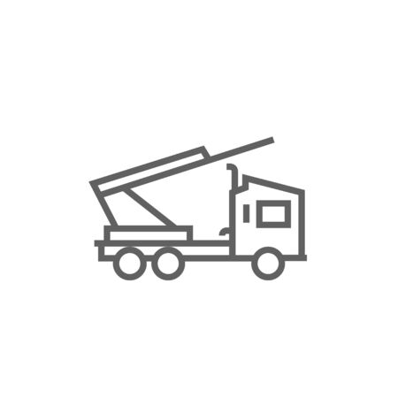 auto hoist: Machine with a crane and cradles thick line icon with pointed corners and edges for web, mobile and infographics. Vector isolated icon. Illustration