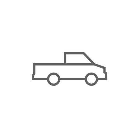 pick up truck: Pick up truck thick line icon with pointed corners and edges for web, mobile and infographics. Vector isolated icon.
