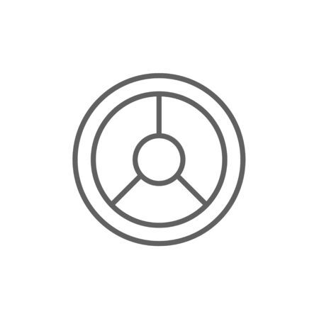 Steering wheel line icon for web, mobile and infographics. Vector dark grey icon isolated on white background.