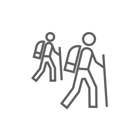 Tourist backpackers line icon for web, mobile and infographics. Vector dark grey icon isolated on white background.