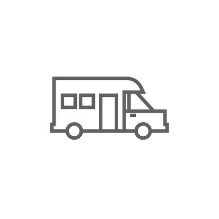 motorhome: Motorhome thick line icon with pointed corners and edges for web, mobile and infographics. Vector isolated icon. Illustration
