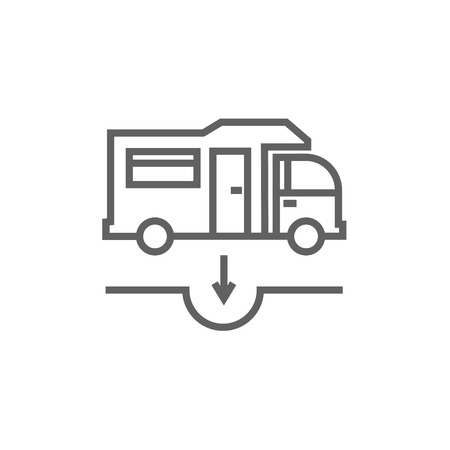 canalization: Motorhome and sump thick line icon with pointed corners and edges for web, mobile and infographics. Vector isolated icon.
