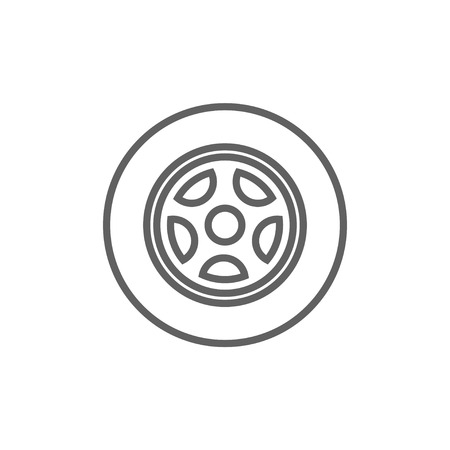 Car wheel line icon for web, mobile and infographics. Vector dark grey icon isolated on white background.