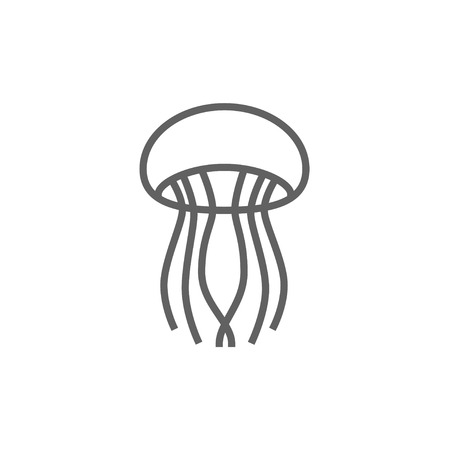 stingers: Jellyfish line icon for web, mobile and infographics. Vector dark grey icon isolated on white background.