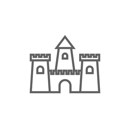 sandcastle: Sandcastle thick line icon with pointed corners and edges for web, mobile and infographics. Vector isolated icon.