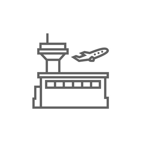 taking off: Plane taking off thick line icon with pointed corners and edges for web, mobile and infographics. Vector isolated icon.