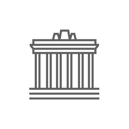 athens: Acropolis of Athens thick line icon with pointed corners and edges for web, mobile and infographics. Vector isolated icon. Illustration