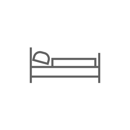 Bed thick line icon with pointed corners and edges for web, mobile and infographics. Vector isolated icon.