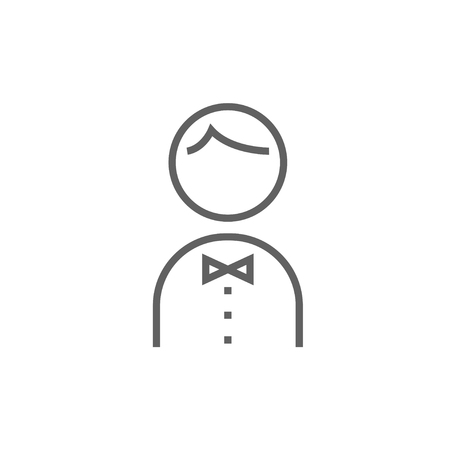 Waiter thick line icon with pointed corners and edges for web, mobile and infographics. Vector isolated icon.