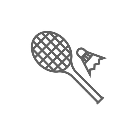badminton racket: Shuttlecock and badminton racket line icon for web, mobile and infographics. Vector dark grey icon isolated on white background.