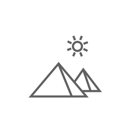 egyptian pyramids: Egyptian pyramids thick line icon with pointed corners and edges for web, mobile and infographics. Vector isolated icon. Illustration