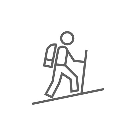 Tourist backpacker thick line icon with pointed corners and edges for web, mobile and infographics. Vector isolated icon.