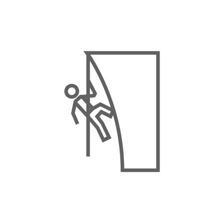 Rock climber climbing an overhanging cliff thick line icon with pointed corners and edges for web, mobile and infographics. Vector isolated icon.