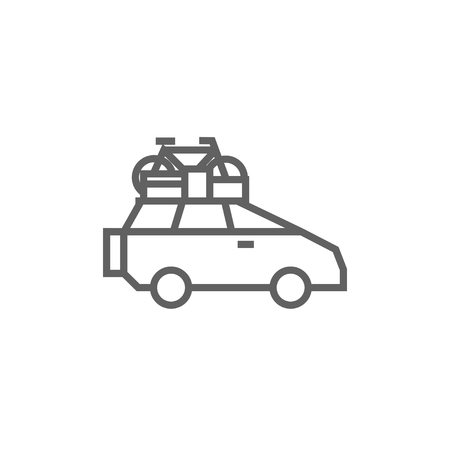 mini bike: Car with bicycle mounted to the roof thick line icon with pointed corners and edges for web, mobile and infographics. Vector isolated icon. Illustration