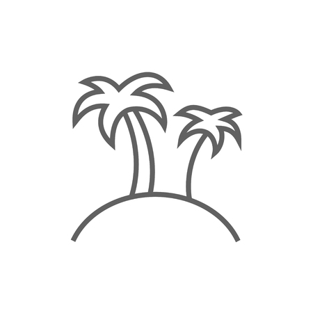 Two palm trees on an island line icon for web, mobile and infographics. Vector dark grey icon isolated on white background. Illustration