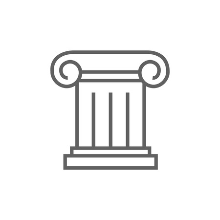 Ancient column thick line icon with pointed corners and edges for web, mobile and infographics. Vector isolated icon. Illustration