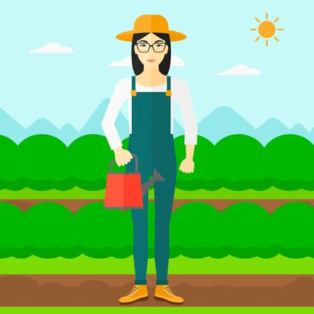 An asian woman holding a watering can on the background of field rows with green bushes vector flat design illustration. Square layout.