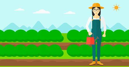緑の茂みでフィールド行のバック グラウンドの水まき缶を保持しているアジアの女性はベクトル フラットなデザインのイラストです。水平方向のレ