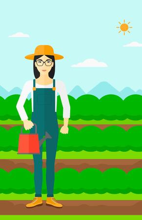 緑の茂みでフィールド行のバック グラウンドの水まき缶を保持しているアジアの女性はベクトル フラットなデザインのイラストです。縦型レイアウ  イラスト・ベクター素材